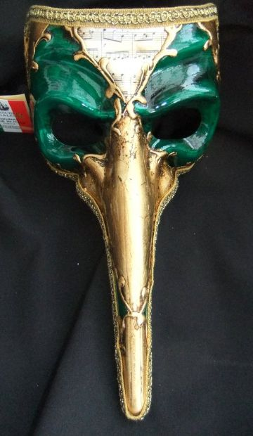 Genuine Venetian Gold & Green long nose Mask